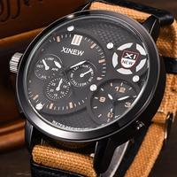 XINEW Sport Handgelenk Uhren Männer Große Dual Zeit Leinwand Strap Wasserdicht Casual Quarzuhr Relogio Masculino Marca Original Grande-in Quarz-Uhren aus Uhren bei