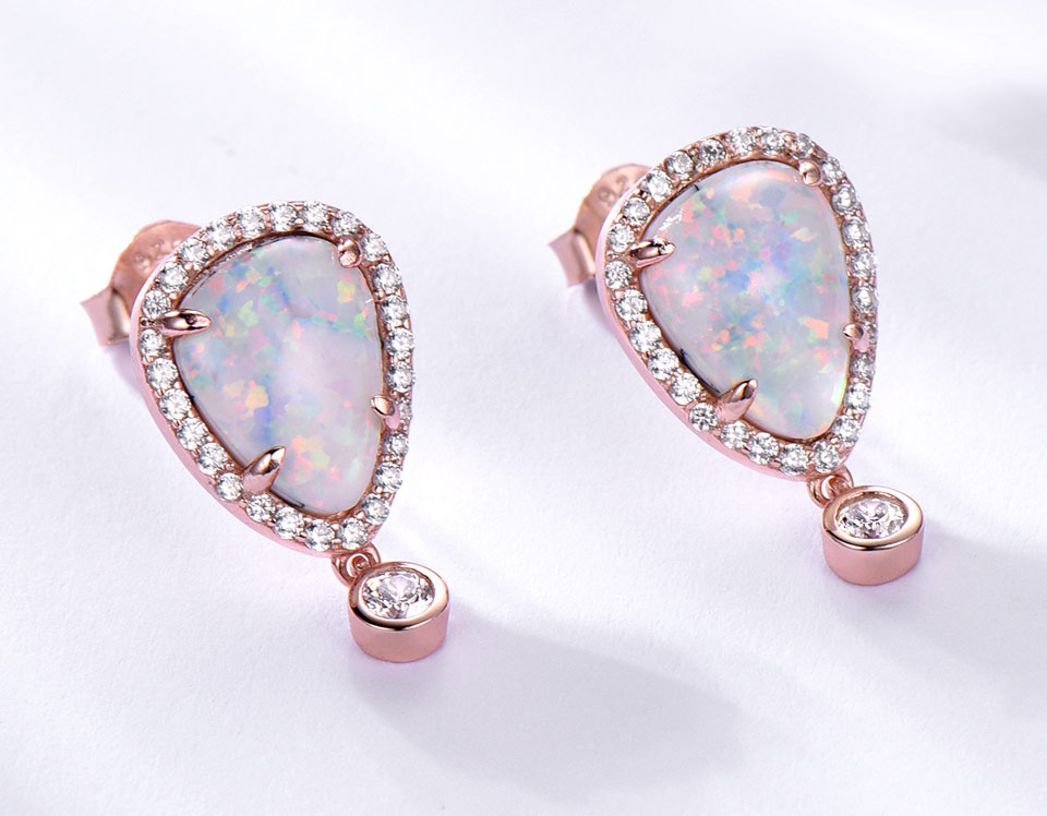 Birthstone Clip on Earrings for Girls Crystal October Oval Drop Earring
