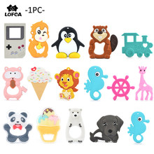 LOFCA 1pc Baby Teething Toys Cartoon Liquid Ice Cream Silicone Teether  Pendant Raccoon Necklace Accessories Infant 63649c5363