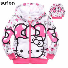 2017 Spring Autumn Girl Jacket Cartoon Cotton Long-sleeved Zipper Pink Hooded Coat Lovely Sweet Warm Baby Girl Clothes 2-7Y