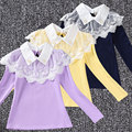 Kid girl cotton long-sleeve t-shirt fashion white lace blouse square collar shirt autumn costume children inside-wearing clothes