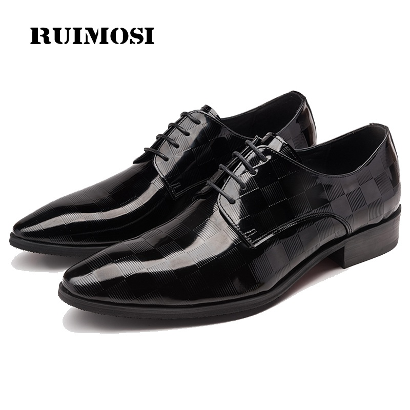 RUIMOSI Pointed Toe Plaid Man Formal Dress Shoes Patent Leather Male Wedding Oxfords Pointed Toe Men's Derby Bridal Flats HJ25