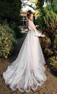 Image 3 - שתי שכבה סקופ טול מחשוף ארוך Applique שרוולים אונליין חתונת שמלה עם אגלי חגורת פנינים חזרה משפט רכבת כלה שמלה