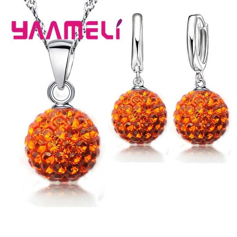 Mode Einfache Disc Kristall Kugeln Anhänger Halskette Ohrringe 925 Sterling Silber Zubehör Frauen Hochzeit Partei Schmuck