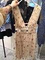 De Gama alta de Las Mujeres Del Verano Vestidos de Champagne V Cuello Sin Mangas Estrellas Lentejuelas Mini Vestidos Elegantes Del Partido de Tarde 61905