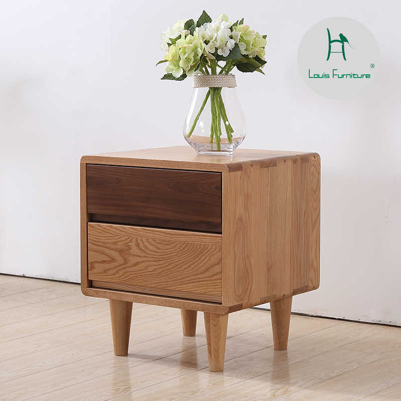 Louis Fashion Coffee Tables Japanese Simple Bedside Cabinet All Solid Wood Bedside  White Oak Corner  Storage with Drawer
