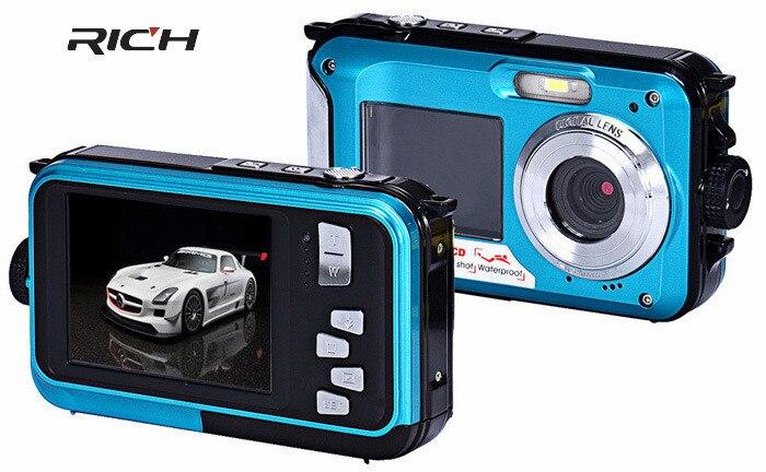 H268 écrans étanche appareil photo numérique 2.7 pouces TFT Double écran appareil photo numérique étanche 24MP Max 16x Zoom numérique