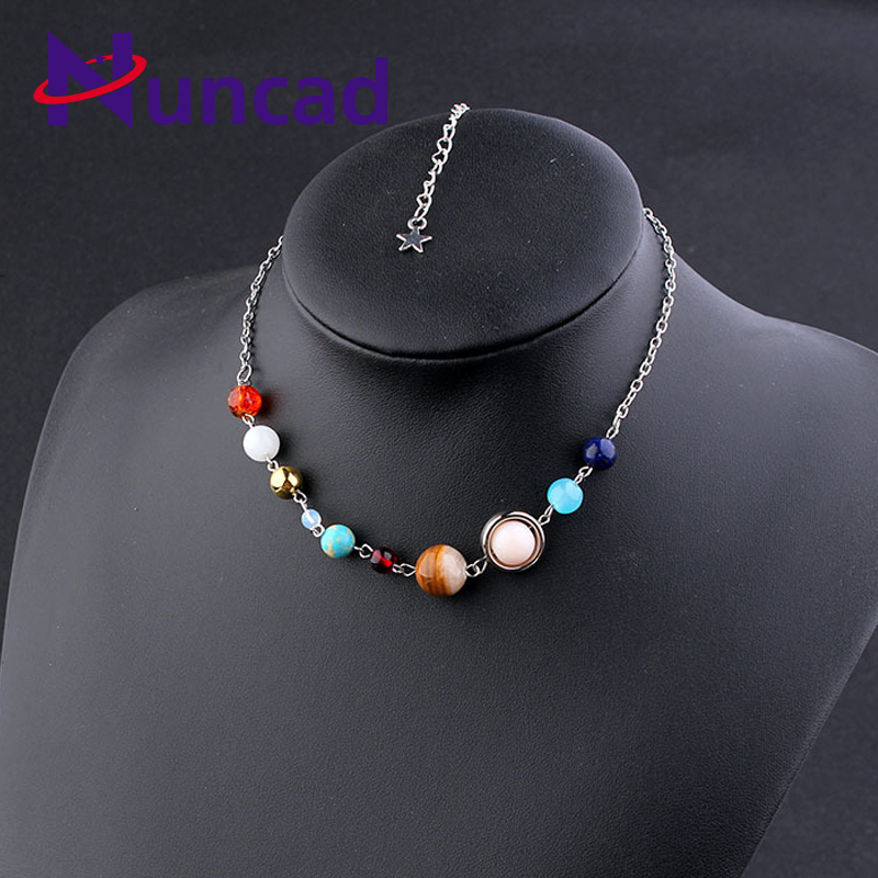 Women Chokers Necklace Universe Galaxy the Eight Planets Solar System Guardian Star Stone Necklaces Sweater Chain