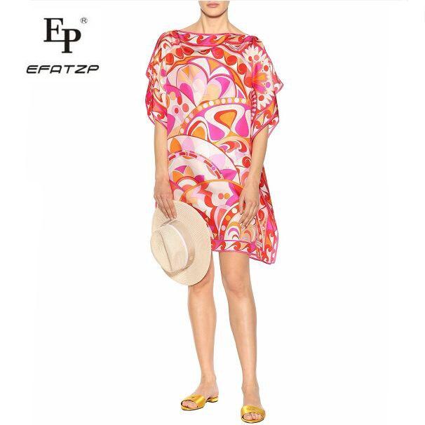 New 2018 Fashion Designer Dress Women s Short Sleeves Red Geometric Print large size XXL Stretch