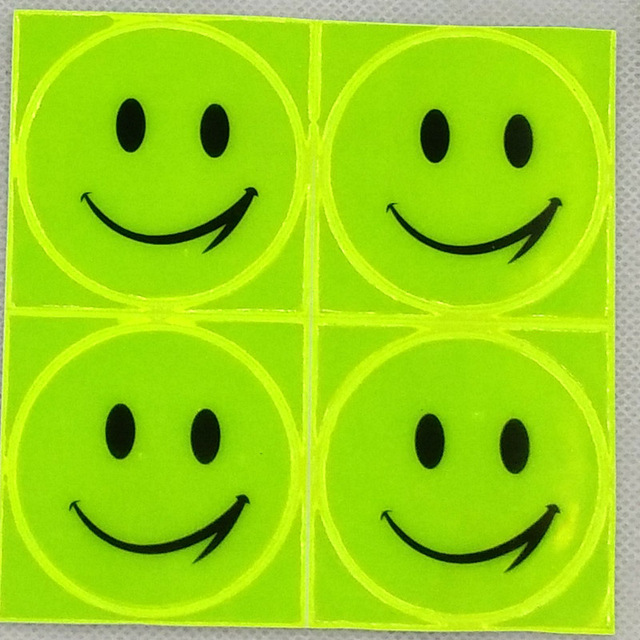 1 sheet 10x10cm Reflective sticker smile face sticker for school bag reflective motorcycle scooter for visible safety