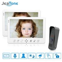 JeaTone Wired Video Door Phone Intercom System 10 TFT LCD Monitor Dual Way Intercom With Waterproof