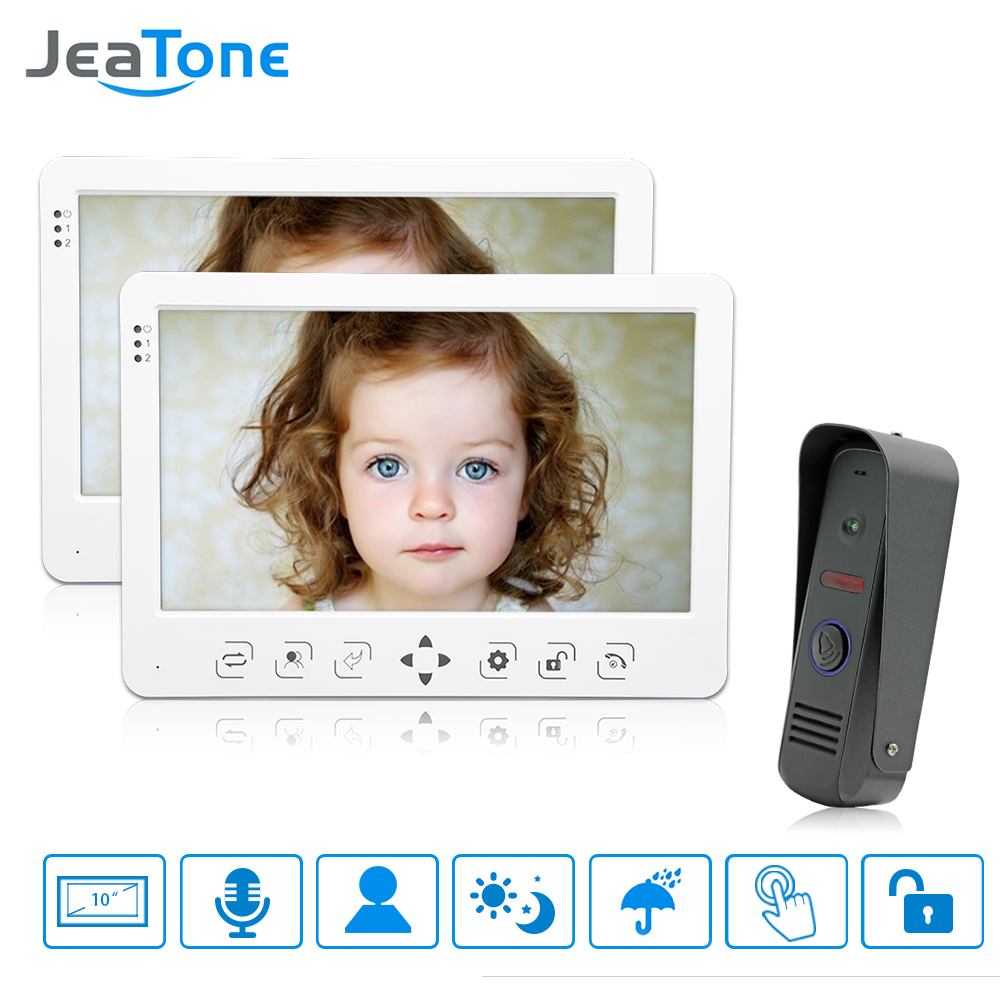 JeaTone Wired Video Door Phone Intercom System 10'' TFT LCD Monitor Dual-way Intercom With Waterproof Outdoor IR Camera Home Kit wired video door phone intercom doorbell system 7 tft lcd monitor screen with ir coms outdoor camera video door bell
