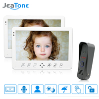 JeaTone Wired Video Door Phone Intercom System 10'' TFT LCD Monitor Dual way Intercom With Waterproof Outdoor IR Camera Home Kit