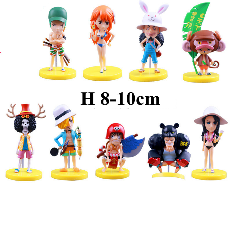 New 9pcs/set anime one piece pvc sun beach version action figure kawaii model doll Luffy Zoro Nami Sanji Robin figure juguetes
