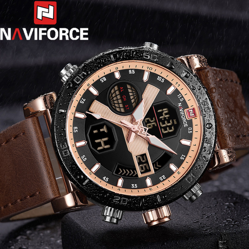 NAVIFORCE Men Watch Digital Sport Mens Watches Top Brand Luxury Military Army Leather Band Analog LED Quartz Male Clock New 9132