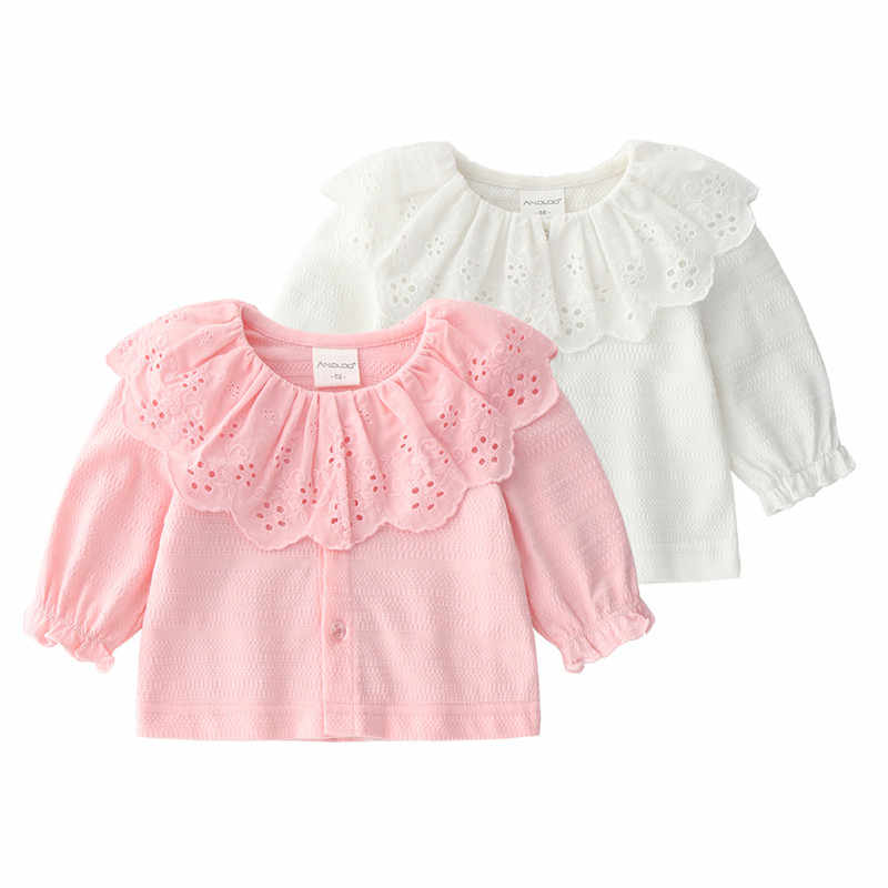 8b15a5ba1400 Lace Newborn Baby Girl Clothes Hollow Flowers Long Sleeve Cardigan Baptism  Girls Bloues Jacket Coat Infant