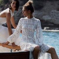 Spring Runway Designer Dress Women Vintage Elegant Lantern Sleeve White Hollow Out Embroidery Lace Long Dress 2019