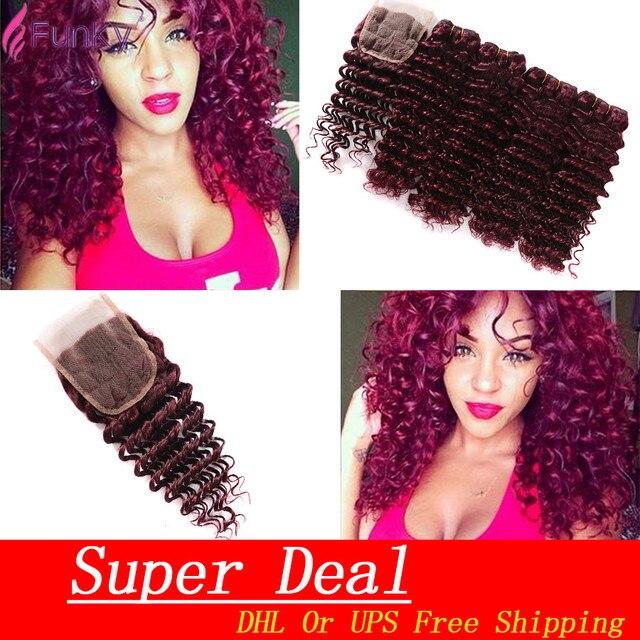 Top Grade 7A Brazilian Deep Wave With Closure 99J Deep Curly Brazilian Virgin Hair With Closure Burgundy 4 Bundles With Closure