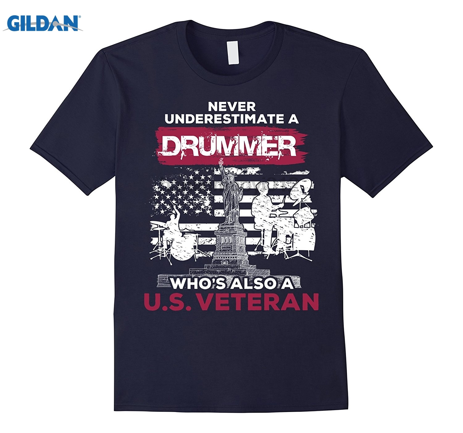 GILDAN Never Underestimate A Drummer Whos Also A U.S.Veteran Shirt Mothers Day Ms. T-shirt