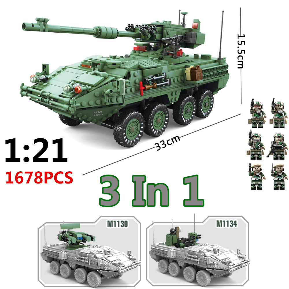 все цены на 1678pcs Big Size 3in1 playmobil Military Technic Series 1/21 The Stryker M1128 MGS Building Blocks Bricks Toy Brinquedos Jugetes онлайн