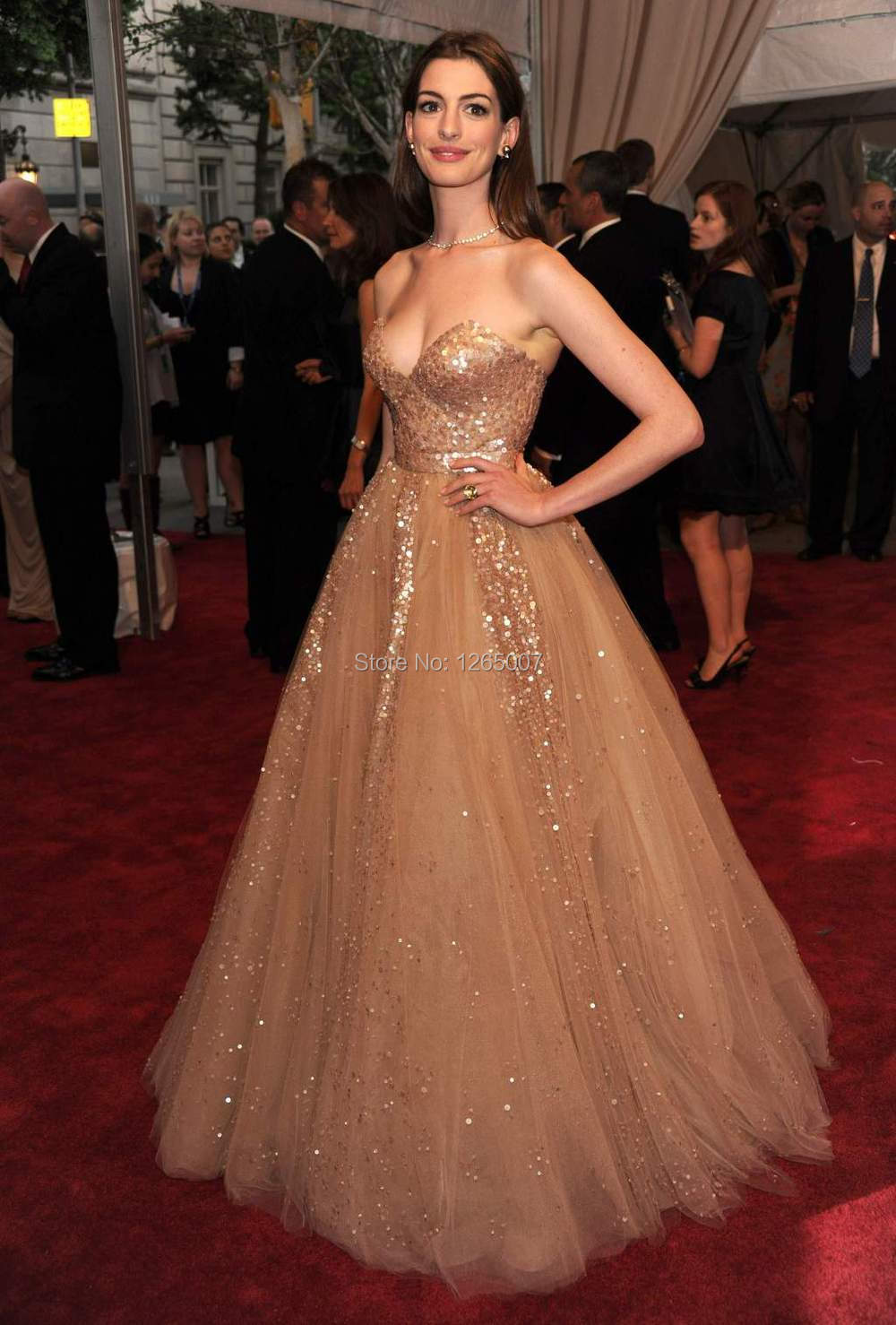Anne Hathaway Dress Sweetheart Glitter Sequins Tulle A Line ...