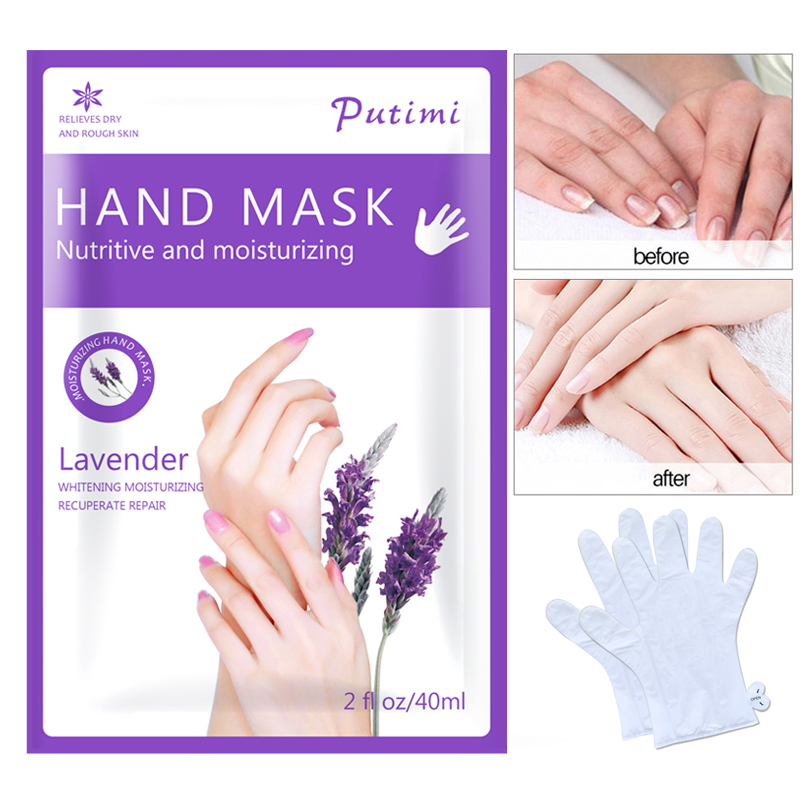 4pcs=2pair Lavender Moisturizing Hand Mask Paraffin Wax Exfoliating Mask For Remove Dead Skin Hand Skin Anti-Drying Spa Gloves