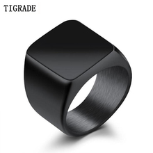Tigrade Men Titanium Ring Brief Design Fashion 316L Stainless Steel Punk Black Wedding Engagement Maio Collares de muj