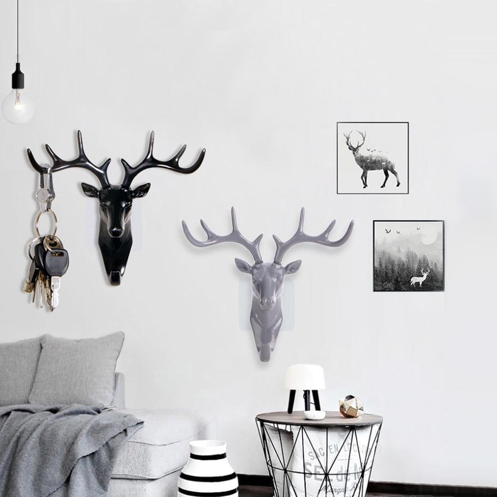 Ouneed Deer Head Animal Self Adhesive Clothing Display Racks Hook Coat Hanger Cap Room Decor Show Wall Bag Keys Sticky Holder