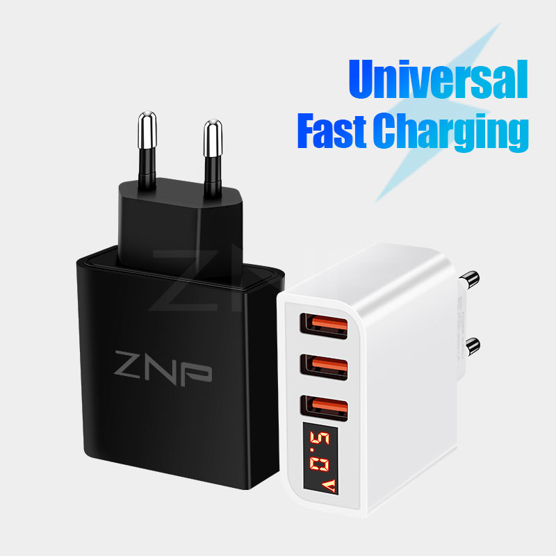 ZNP Usb-Charger Led-Display Huawei Samsug S10 iPhone Xs Universal Max-X-Eu-Plug Xiaomi