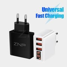 ZNP Universal 15W USB Charger 5V for iPhone XS Max X EU Plug LED Displ