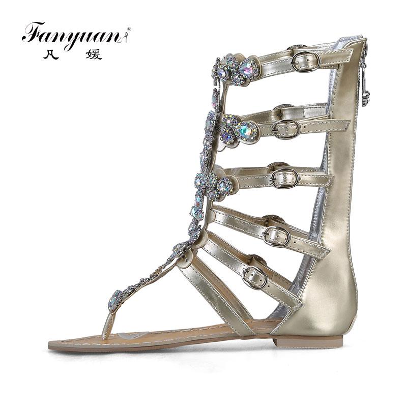 Fanyuan women Gladiator Sandals Summer Plus size Flat Sandals gorgeous Rhinestone Buckle strap Flip Flops Party