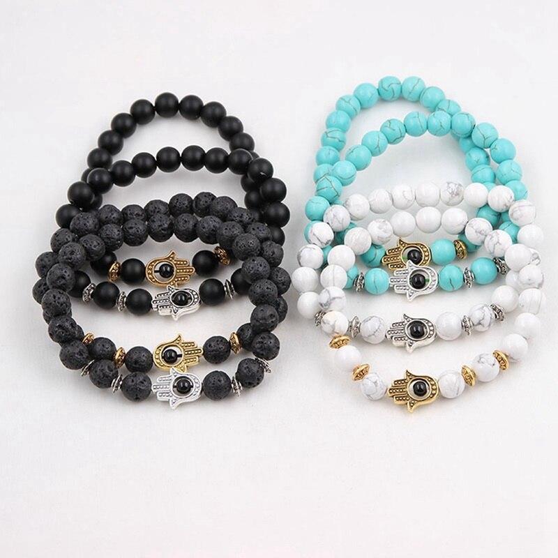 Black White Blue Matte Bead Lava Stone Beaded Bracelet Women Fatima Hamsa Hand Bracelet Men Jewelry