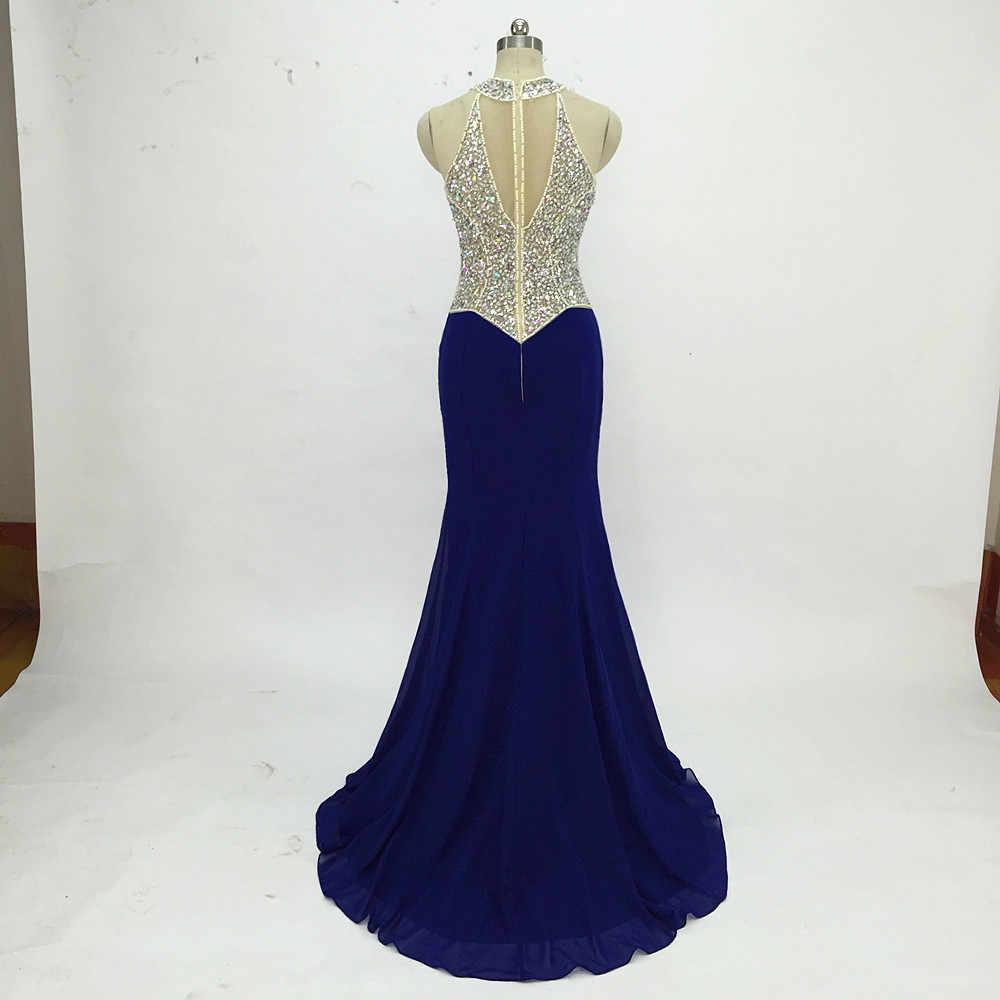 f7b64c73533b ... Sexy Royal Blue Mermaid Prom Dresses 2019 Beaded Long Formal Evening  Party Dresses Deep V Neck ...