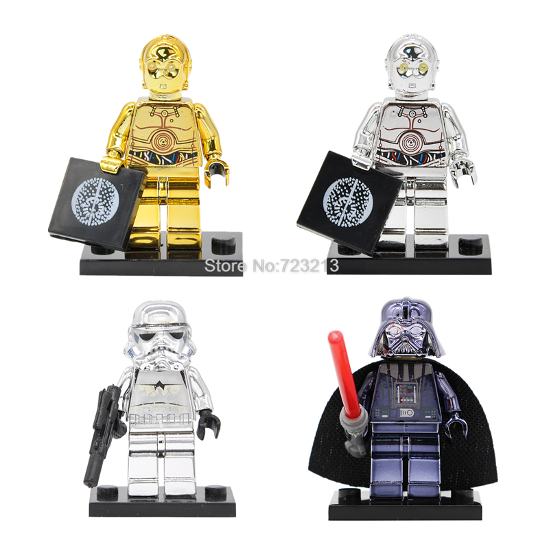 Single Sale C-3PO Star Wars Chrom Golden Figure Stormtrooper Darth Vader C3PO Building Blocks Starwars Sets Models Toys