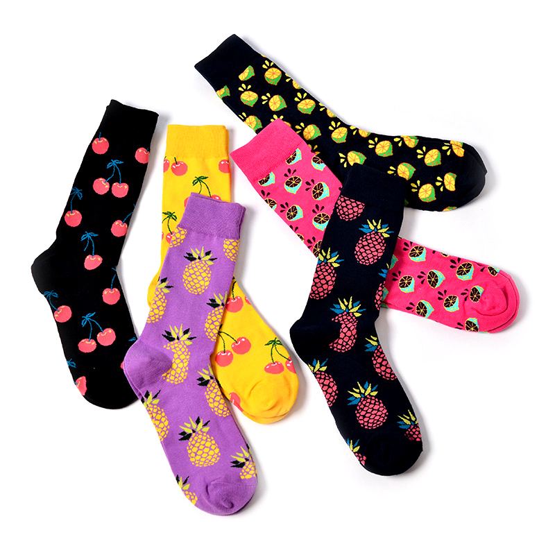 Happy Socks Pineapple Cherry Mango Socks Women Men Fruit Jacquard Unisex Crew Funny Socks Women Men Socks Calcetines Size 38-46