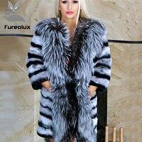 Furealux настоящая шиншилла кролик рекс шуба с большим серебряным лисьим воротником Wam зима оптовая продажа для женщин натуральный мех куртки