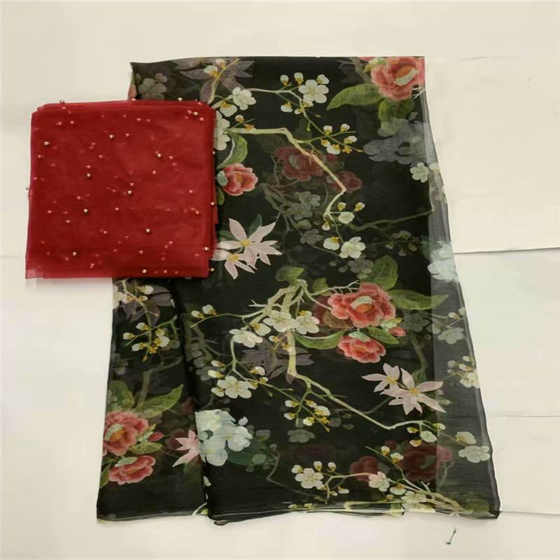 Europe mode 100% pur mûrier soie tissu soie tissu imprimé pour doux écharpe robe couture matériaux 5 + 2 yards! L61853