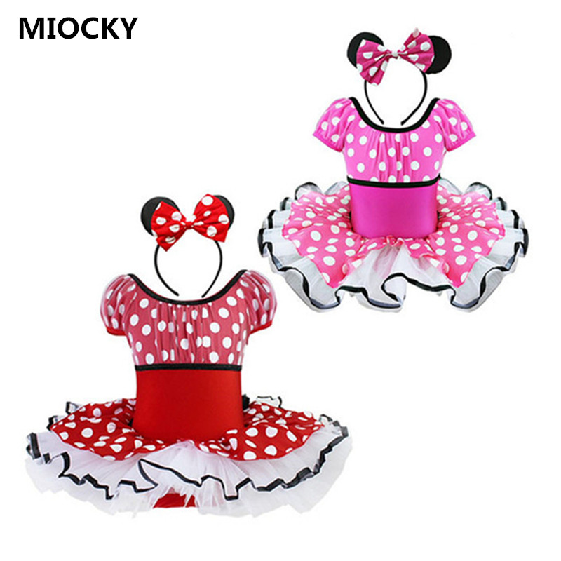 Princess Girls Dress Elegant Princess Girl Cosplay Costume Polka Dot Bowknot Ballet Party Tutu Dress Minnie Mouse Vestidos D0877 genuine leather men bags brand men laptop briefcase business bag cow leather handbag shoulder bag messenger bag 1a