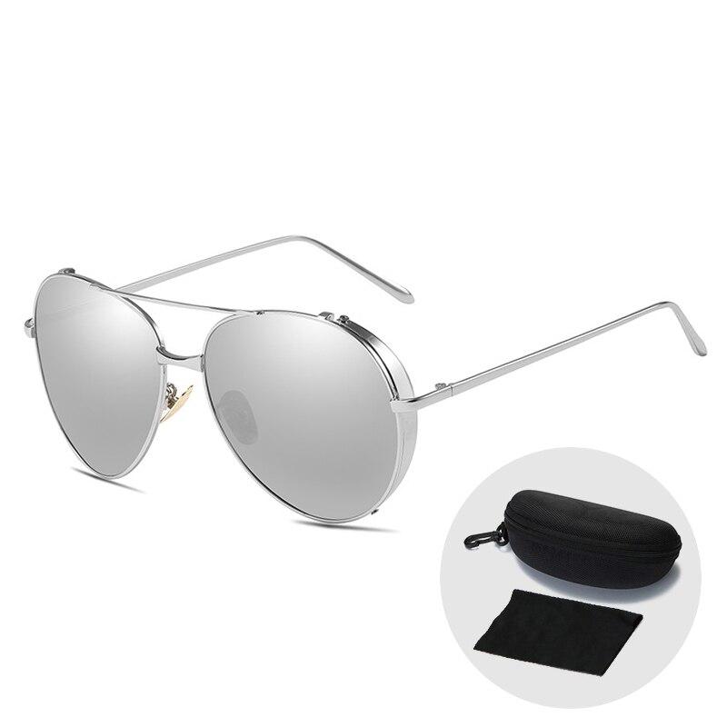 Vintage pilote femmes lunettes de soleil hommes Steampunk lunettes mode grand cadre Cool polarisé conduite dames lunettes de soleil avec étui à glissière