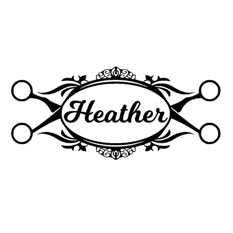 Barber Hairdresser Hair Scissors Name Window Stickers