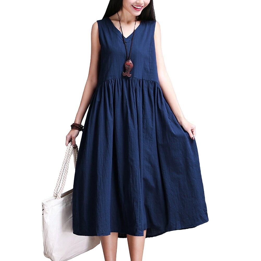2018 Vintage Women Cotton Linen Dresses Summer V Neck ...