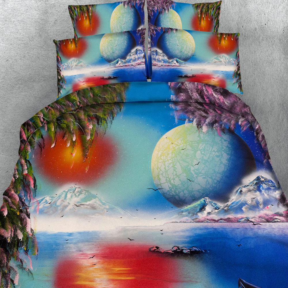 3d Oil Painting Style Bedding Sets Sunset/Horse/Snow Mountain Lake Pattern Cotton Duvet/Quilt Cover Twin/Queen/King Size 3/4pcs