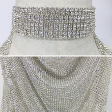 S Curve Handmade Backless Crystal Metal Mesh Dress
