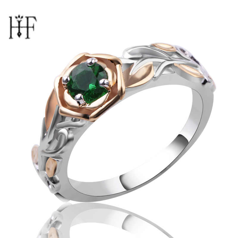 Elegant Flower Rainbow Opal Claddagh Ring Fashion Green CZ Wedding Jewelry With Branches lines Shiny Green Ring Women Charming