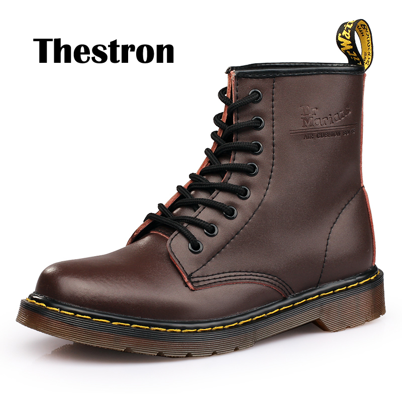 Men's Boots 2019 New Style Leather Working Safety Shoe For Men Winter With Fur Men Casual Boots Rubber Sole Mart Boots Male British Retro Fashion Boots