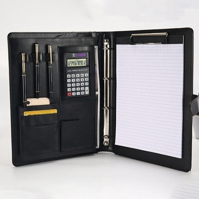 مكتب مجلد A4 متعددة الوظائف الموثق الخشب الرقائقي حزام Pu مدير دبوس مجلد معلومات مجلد كتيب