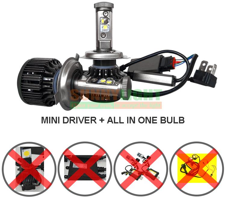 New H4 CREE LED Motorcycle Headlight Bulb 4000LM 40W HiLo 20W Low Beam Conversion Kit 3000K 4300K 6000K DC 12V P43T Headlamp (14)