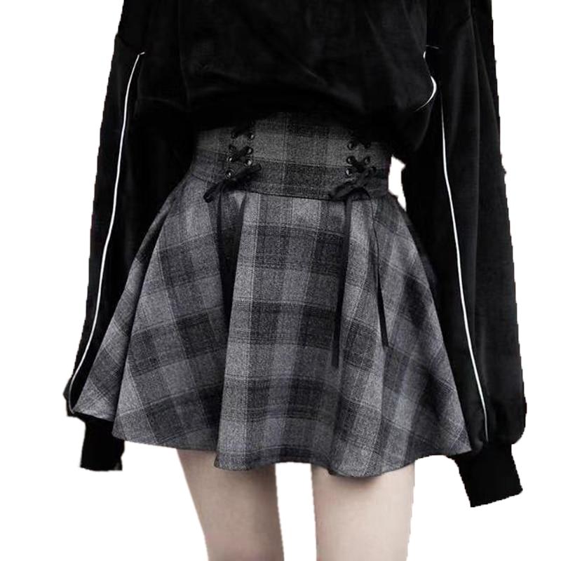 Spring New Gothic Girl Plaid High Waist Saia Tie Big Swing Women Harajuku Plus Size Short Skirt