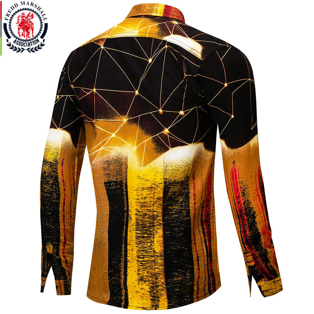 Fredd Marshall новые 2019 модные мужские рубашки в стиле хип-хоп приталенная гавайская рубашка с длинными рукавами Повседневная Уличная Мужская рубашка с 3D принтом 30