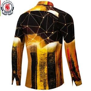 Image 2 - Fredd Marshall New 2019 패션 남성 셔츠 힙합 슬림 피트 긴 소매 하와이 셔츠 캐주얼 Streetwear 남성 3D 프린트 셔츠 30